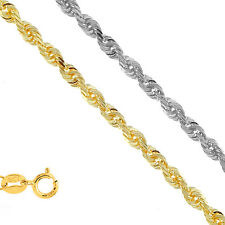 """14k Solid Yellow Or White Gold 1.25mm Diamond-Cut Rope Chain 16"""" 18"""" 20"""" 24"""""""