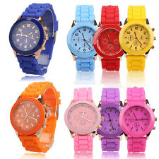Girl Hot Jelly Candy Color Wrist Watch Quartz Silicon Watchband Round Dial  #3YE
