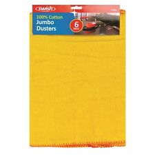 6 Pack Yellow Jumbo Large Polishing Cloth Clean Dusters - 100% Cotton 48cm x 30c