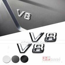 PAIR V8 SIDE FENDER EMBLEM BADGE for ALL MERCEDES BENZ 3 COLORS CHROME BLACK
