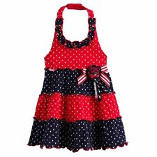SOPHIE ROSE Baby Girl Patriotic July 4th Holiday Halter Dress Red Navy 12 18 24M