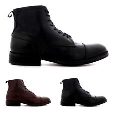 Mens H By Hudson Palmer Leather Smart Biker Office Lace Up Ankle Boots US 7-13