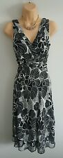 COLLECTION DEBENHAMS Womens black & white patterned dress party occasion size 10
