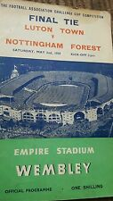 luton town v nottingham forest fa cup 1959 final programme