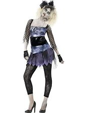 Ladies 1980s Zombie 80's Pop Star Music Halloween Fancy Dress Costume
