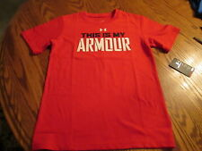 UNDER ARMOUR HEAT GEAR BOYS T-SHIRT SIZE 4  RED NWT
