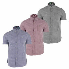 Mens Shirt Brave Soul 'Clement' Short Sleeved Casual Top Summer Gingham New S