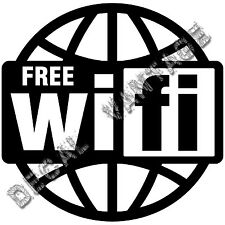 Wifi Free Spot Logo Globe Vinyl Sticker Decal - Choose Size & Color