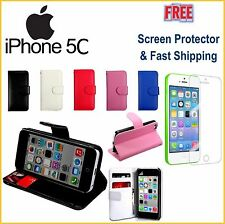 iPhone 5C PU Leather Wallet Case Cover FREE Screen Protector + FAST SHIPPING NEW