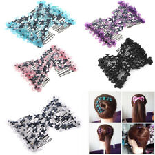 Fashion Magic Beads Elasticity Double Hair Comb Clip Stretchy Hair Combs Clips