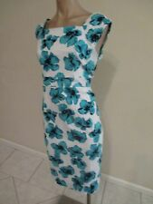 GUC--SIZE 14--ANTHEA CRAWFORD---BLUE/BLACK/WHITE  COCKTAIL FLORAL DRESS-LINED