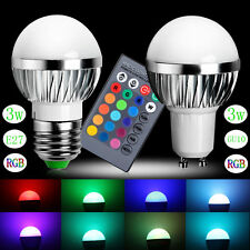 3W RGB LED Bulb Light Lamp 16 Colors Change With 24 Key Remote Controller