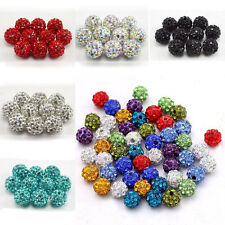 8/10/12mm DIY Czech Crystal Rhinestones Pave Clay Round Disco Ball Spacer Beads