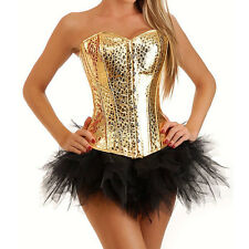 Sexy Womens Gold Faux Leather Corset Overbust Boned Bustier Top Lingerie S2XL