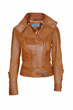 TOPMODEL Ladies Leather Jacket TAN Real Italian Nappa Leather Biker Style Design