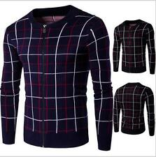 Fashion Men's Slim Fit Sweaters Thick Warm Collar Spell Grid Cardigan Sweaters