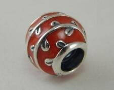 Authentic ^Pandora Silver Red Enamel Vines Bead Charm 790525EN17