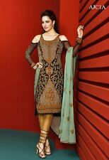 Pakistani Indian Asim Jofa designer clothing Chiffon dress Brown Color.