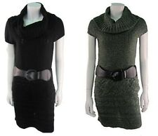 Womens Ladies knitted Tunic Belted Cowl Neck Top Sweater Dress. Sizes:UK8-14