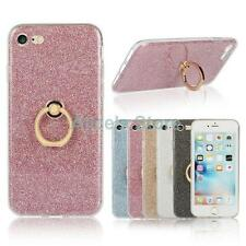 For Apple iPhone 5S 6 6S 7 7Plus Bling Glitter Soft TPU Finger Ring Case Cover
