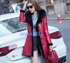 Korean Womens Faux Leather Jacket Fur Collar Fur Lined Thicken Slim Fit Coat Sz