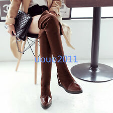 Fashion Womens High Heel Over The Knee Boots Wedge Shoes Pull On Cuffed US Size