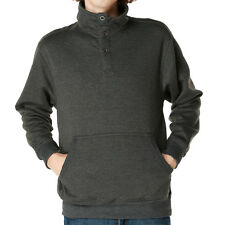 Mens Fleece Sherpa Henley Sweatshirt Solid Pullover Kangaroo Pocket Hoodie Gray