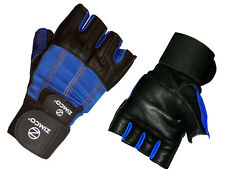 Zimco Weight Lifting Gloves Fitness Mitts Genuine Leather Gloves Black/Blue