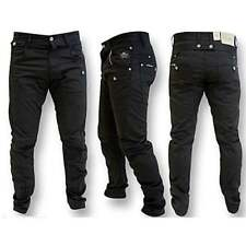 Crosshatch Kractus Mens Jeans Twisted Multi Pocket Cinche Denim Chinos Black