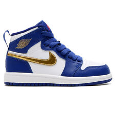 (705303-406) Preschool Air Jordan Retro 1 High BP Deep Royal Blue/Gold/White