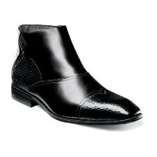 Stacy Adams Faramond Modified Cap Toe Side Zipper Boot Black Leather 25077-001
