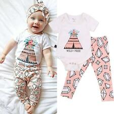 2pcs/Set Newborn Baby Girl Romper Jumpsuit Bodysuit + Pants Cotton Blend Outfits