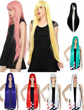 100cm Full Wig Long Straight Hair Wig Women Cosplay Party Free Wig Cap