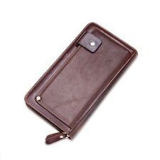 Retro Vintage Genuine Leather Zip Business Checkbook Clutch Mens Long Wallet Pur