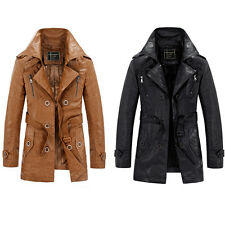 Men's Slim Trench Coat Winter Long Jacket Fleeced PU Leather Overcoat Outwear
