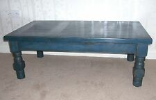 Large coffee table / side table in dark blue, rustic and shabby chic distressed