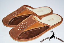 Mens 100% Genuine Suede Leather Slippers Shoes Sandal Handmade In Poland Slip On