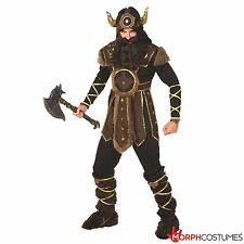 Mens Viking Warrior Fancy Dress Costume incl Helmet Nordic Barbarian Outfit
