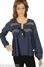 Odd Molly #329 Remix Women's Cotton Smocked Sequin Laced Blouse Tunic Top S 1