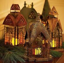 Handpainted Metal Glass Holiday Village Candle Lanterns Christmas Decor 8 Styles