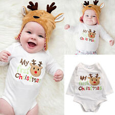 My 1st Christmas Newborn Baby Boy Girls Romper Bodysuit Jumpsuit Outfit Clothes