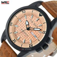 New Luxury Mens Quartz Sport Dial Leather Strap Analog Stainless Wrist Watches