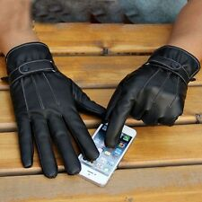 Black Men Winter Leather Motorcycle Full Finger Touch Screen Warm Gloves Cool