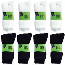 10/20 Pairs Mens Cotton Rich Sport Socks Work Socks Size 6-11 Black White Active