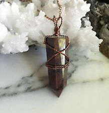 Red Obsidian Crystal Point Pendant -Copper Wire Wrapped Crystal Point Pendant