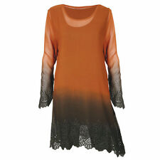 Parsley & Sage Autumn Lace Copper Ombre Long Tunic Top