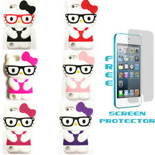 3D Hello Kitty Nerd Glasses iPod Touch 5 6 5th 6th Generation Silicone Skin Case