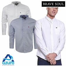 Mens Long Sleeve Shirt by Brave Soul 'Pompeii' Collared Cotton Casual Sizes S-XL