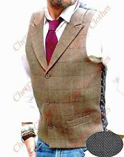 MENS TWEED STYLE BROWN CHECK LAPEL COLLAR WAISTCOAT VEST - TAILORED FIT
