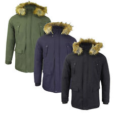 Mens Winter Coat by Tokyo Lee 'Lincoln' Padded Fur Hood Parka Fishtail Size S-XL